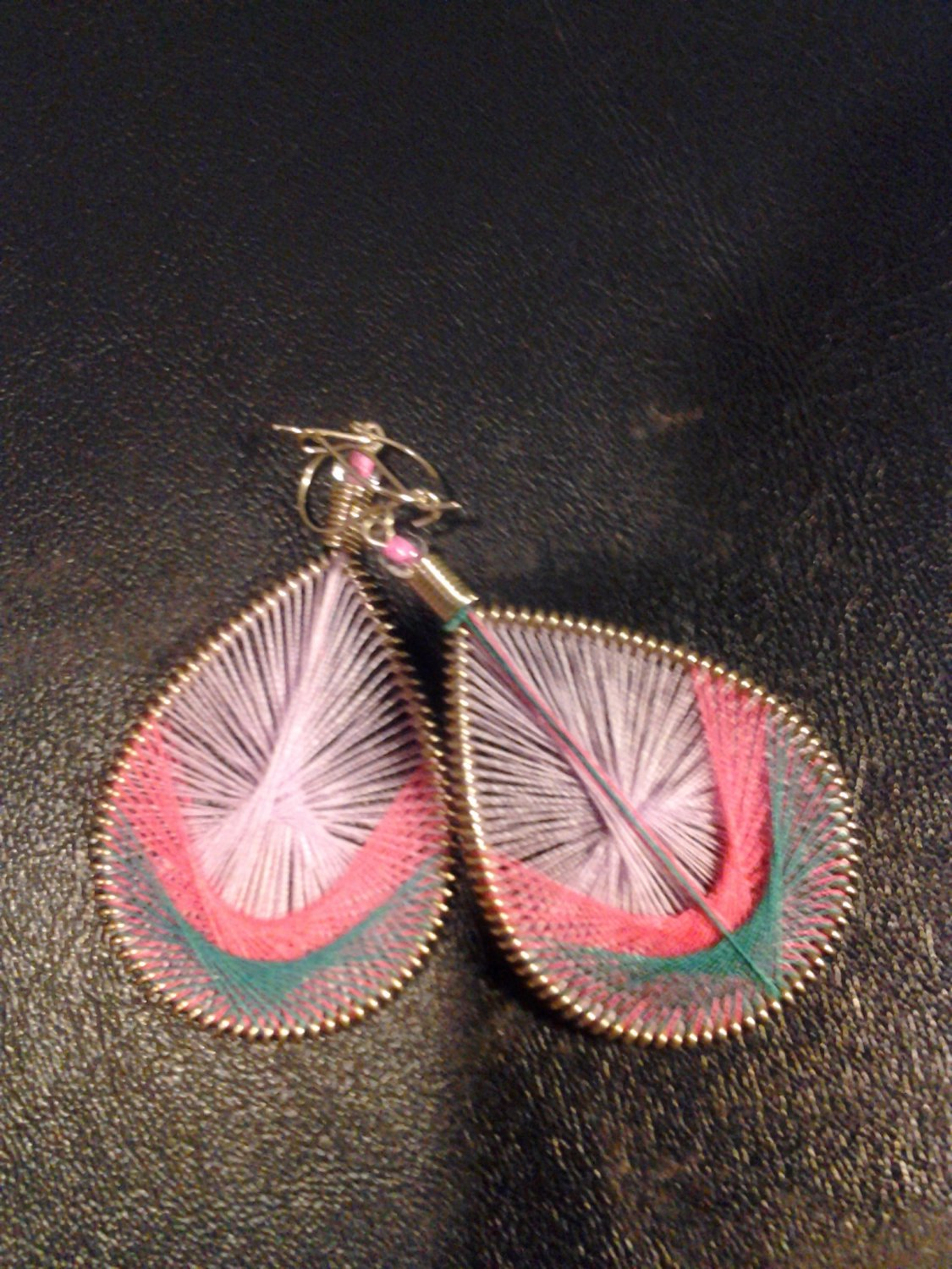 Small Brand New Pink And Green Dangled Thread Earrings