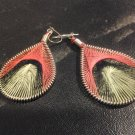 Small Brand New Red, Black, Green Dangled Thread Earrings