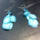 Brand New Beautiful Painted Skin Fish Blue Dangled Earrings