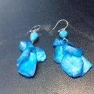 Brand New Beautiful Painted Skin Fish Turquoise Blue Dangled Earrings