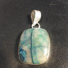 Brand New Beautiful Green And Blue Stoned Silver Pendant
