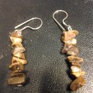 Brand New Beautiful Sterling Silver Wire W/BrownChips Cat's Eye Earrings