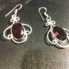 Brand New Beautiful Silver Burgundy Stoned Dangled Earrings