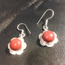 Brand New Beautiful Silver Red Stone flower Dangled Earrings