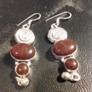 Brand New Beautiful  Burgundy Dangled Stone Silver Earrings