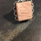 Brand New Beautiful Silver Flower Pink Square Ring Sz 9