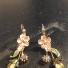 Brand New Beautiful Unique Peach Flower  Dangled Earrings