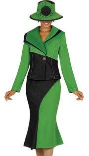 Brand New Beautiful Women's Devine Denim Jewel Green And Black 2-Piece Suit