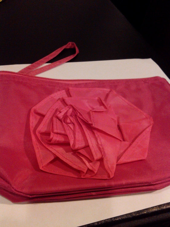 Brand New Small Fushia Pink Vinyl Makeup Bag/Purse Front Flower