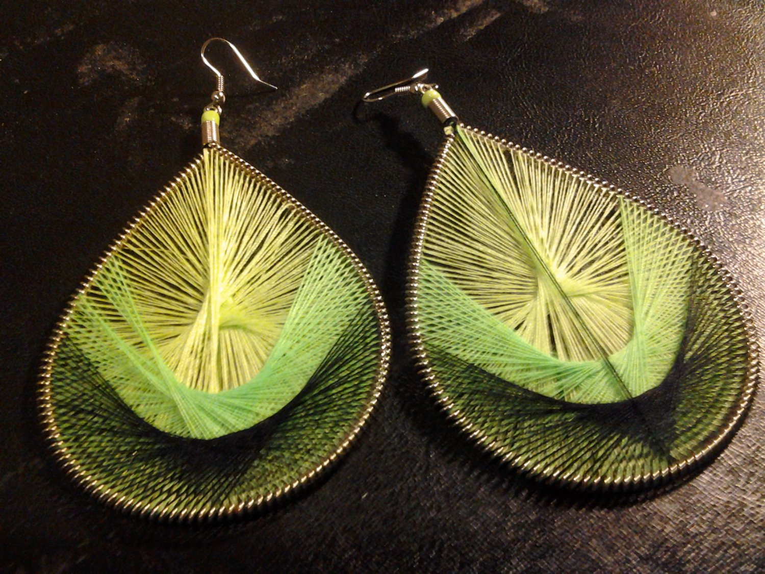 Brand New Beautiful Ex-Large Green And Black Thread Dangled Earrings