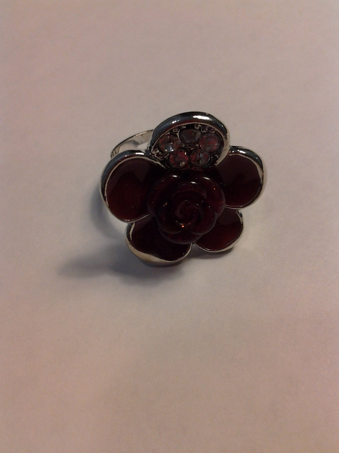 Brand New Beautiful Burgundy Flower Silver Ring With Bling