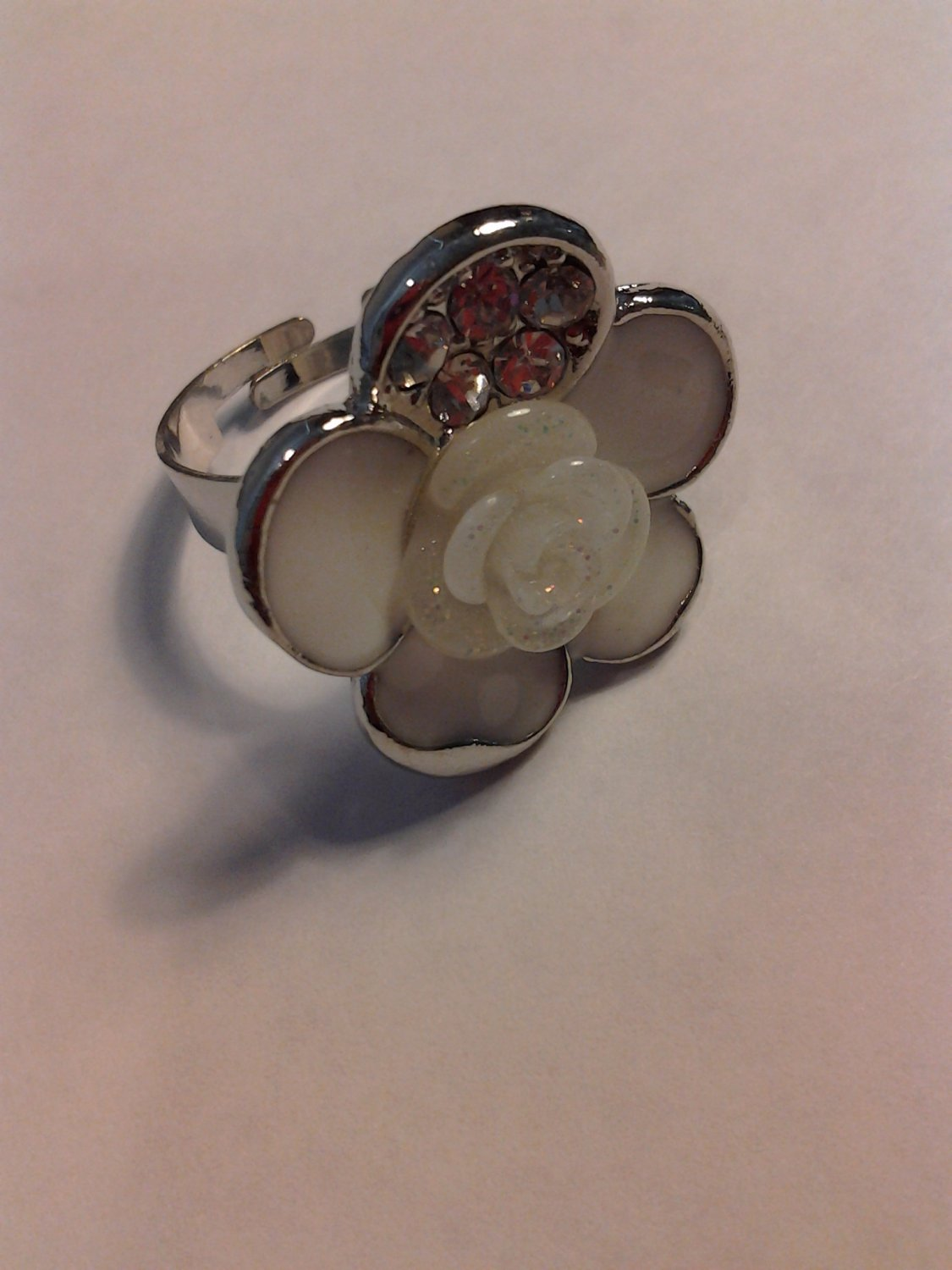 Brand New Beautiful White Adjustable Silver Ring WIth Bling
