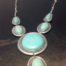Brand New Beautiful Big Bold Long Turquoise Necklace