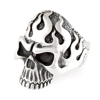 Flame Skull Ring by Silverlgy, available US size: 7-15