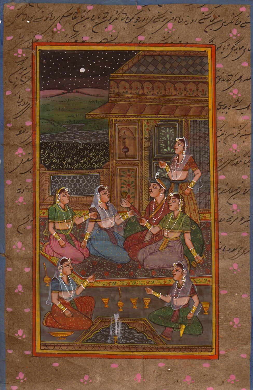 Moghul Mughal Miniature Painting Islamic Script Art