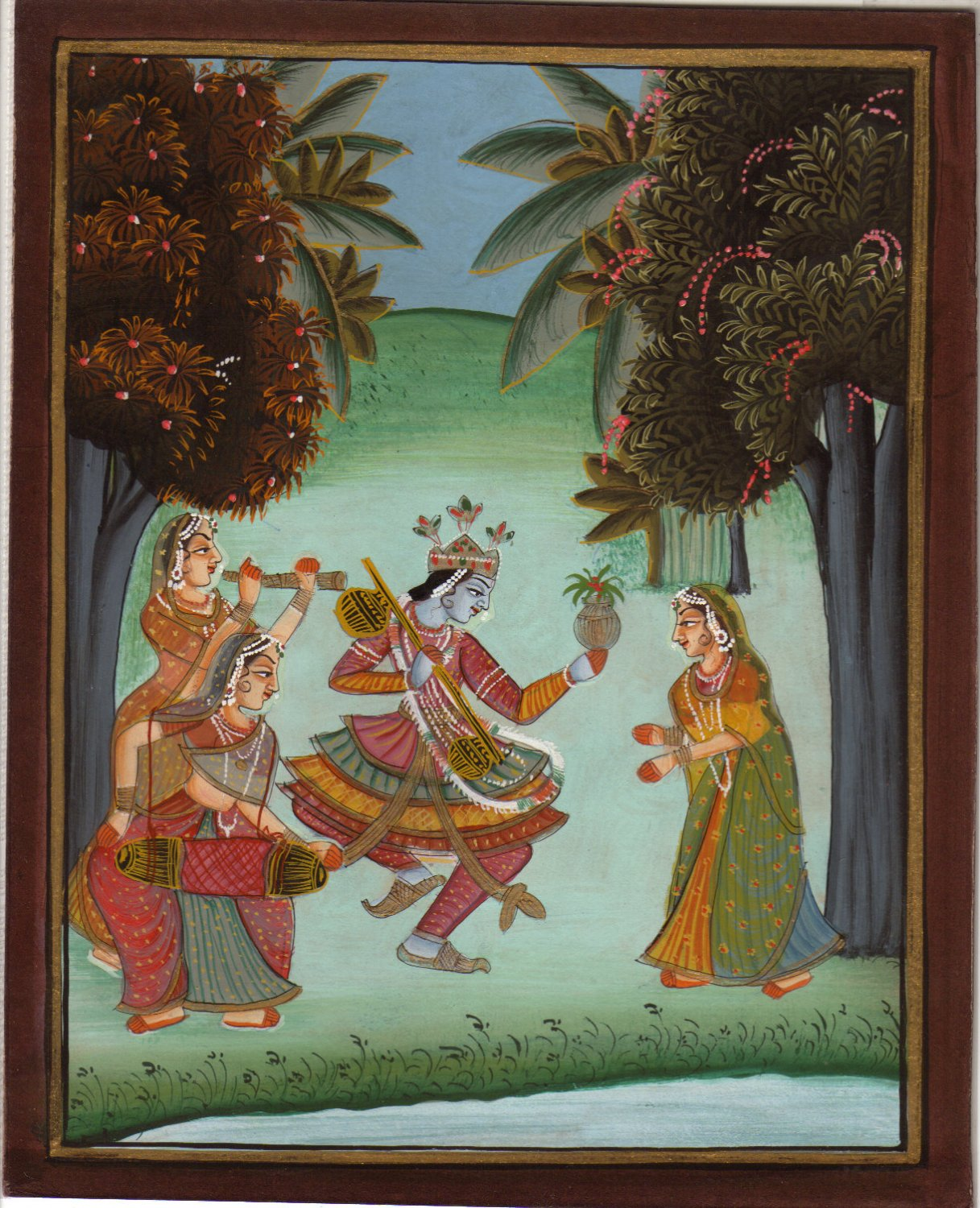 LORD KRISHNA RADHA Original HANDMADE Hindu Religious God Goddess Watercolor Art