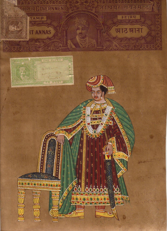 Maharaja King Miniature HANDMADE Painting Ethnic Amritsari Art Old Stamp Paper