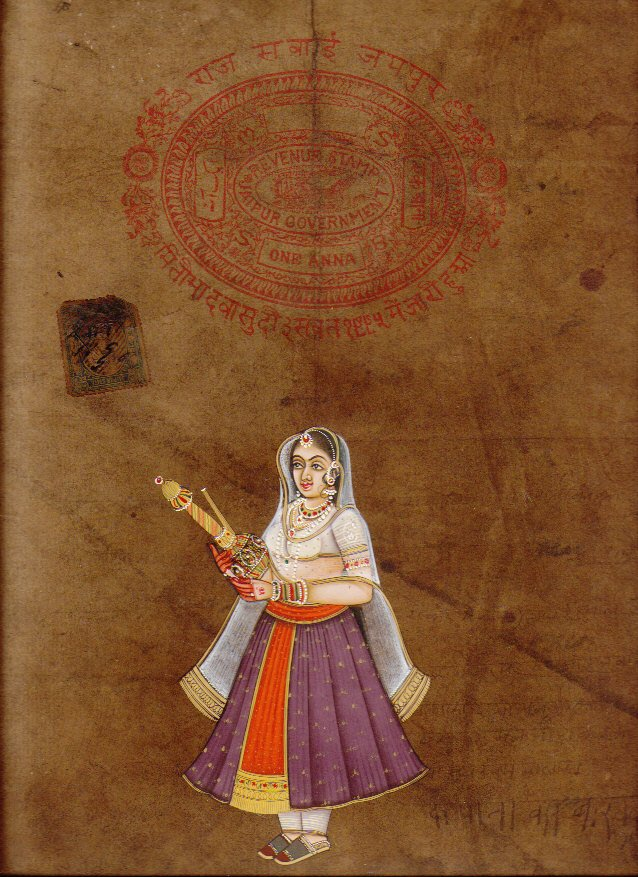 Maharani Queen Miniature HANDMADE Painting Ethnic Rajput Art Old Stamp Paper Rare
