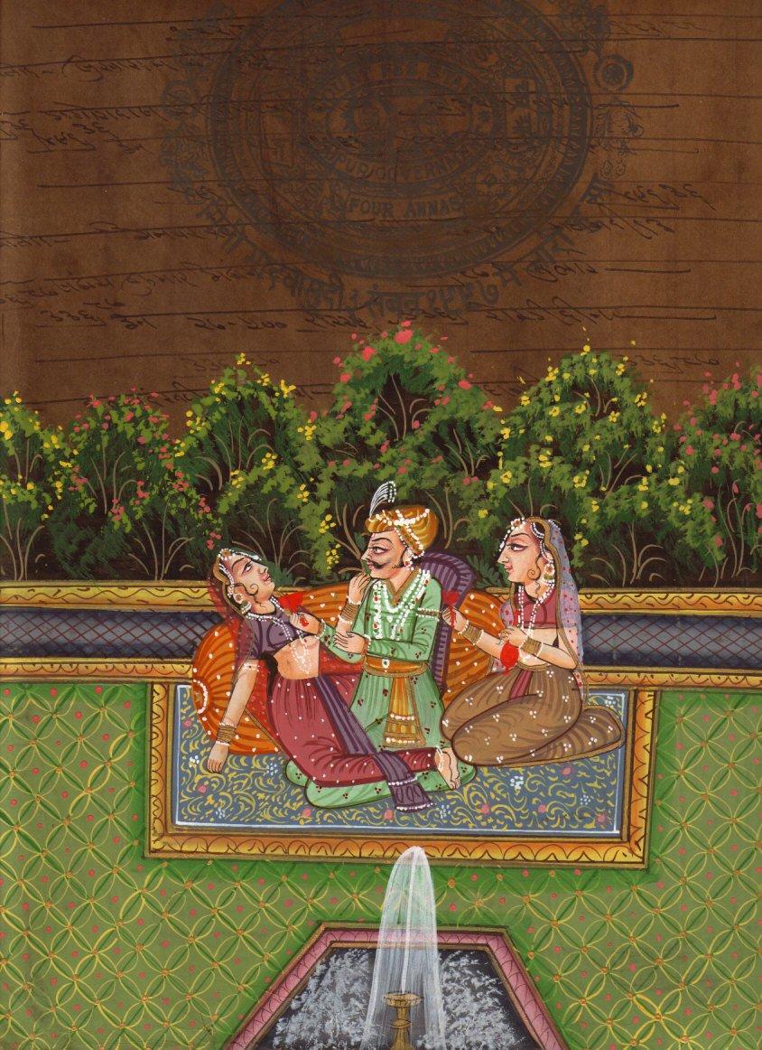 Moghul Mughal Miniature HANDMADE Erotic Harem Painting old royal stamp paper Art