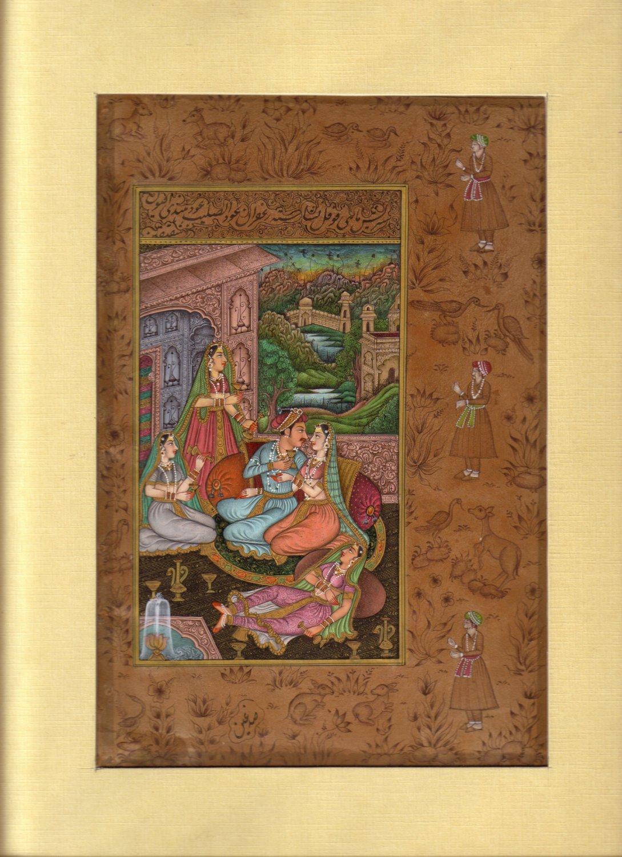INDIAN MINIATURE PAINTING HANDMADE Harem Moghul Mughal Contemporary Art Work