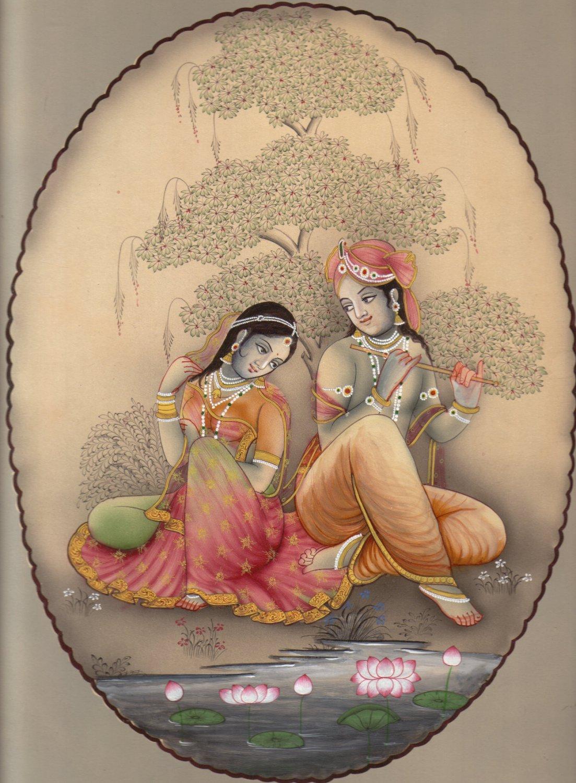 LORD KRISHNA RADHA Miniature HANDMADE Painting Hindu Religious God Goddess Art Free Shipping
