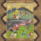 Persian Miniature Art Rare Indo Islamic Illuminated Manuscript Hunt Painting
