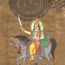 Kalki Painting Handmade Tenth Vishnu Avatar Indian Hindu Deity Stamp Paper Art