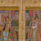 Mughal Empire Art Handmade Moghul Miniature Portrait Illuminated Script Painting