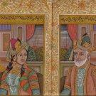 Mughal Empire Art Handmade Moghul Miniature Portrait Illuminated Script Painting