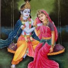 Radha Krishna Ethnic Art Handmade Indian Hindu Religious Folk Decor Painting