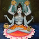 Shiva Reincarnation Art Handmade Hindu Indian God Ethnic Oil on Canvas Painting
