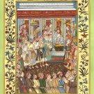 Mughal Empire Miniature Art Rare Handmade Moghul Indian King Jahangir Painting
