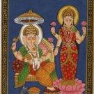 Lord Ganesh Lakshmi Indian Miniature Painting Handmade Indian Hindu Religion Art