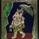 Tanjore Ganesh Painting Handmade South Indian Religious Thanjavur Relief Art