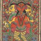 Madhubani Ganesh Art Handmade Indian Tribal Folk Mithila Bihar Ethnic Painting