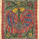 Madhubani Indian Tribal Folk Art Handmade Mithila Bihar Ethnic Fish Painting