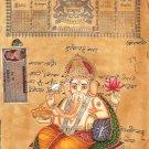 Ganesh Hindu Religion Artwork Handmade Old Stamp Paper Ethnic Ganesha Painting