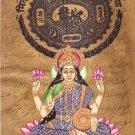 Lakshmi Painting Handmade Indian Miniature Hindu Goddess Stamp Paper Ethnic Art