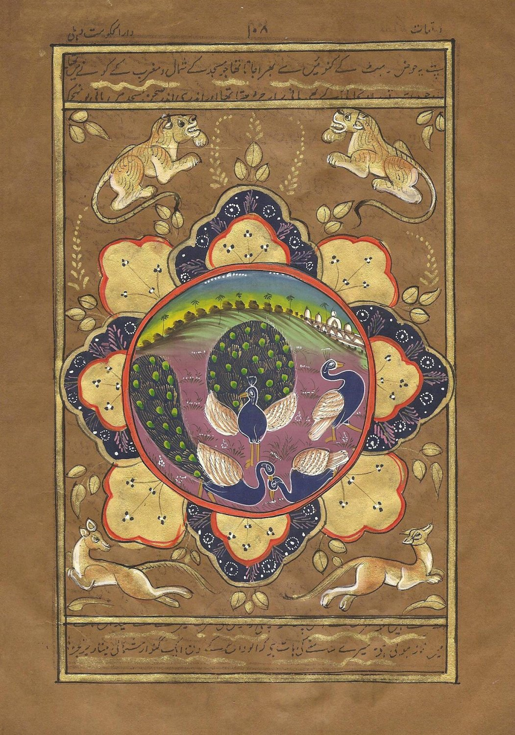 Indo Persian Peacock Bird Painting Miniature Illuminated Manuscript Islamic Art