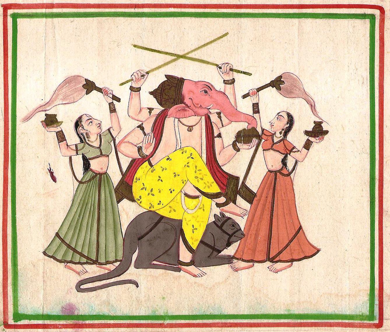 Lord Ganesha Art Handmade Rare Hindu Spiritual Ganesha Indian Folk Painting
