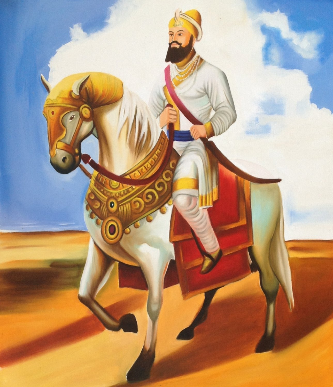 Guru Gobind Singh Sikh Equestrian Art Handmade Indian Ethnic Oil Canvas Painting