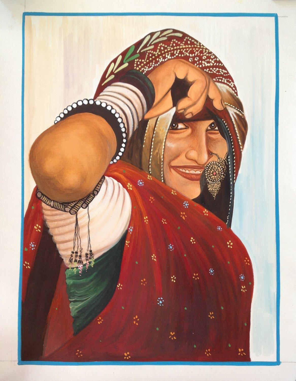 Rajasthan Village Belle Ethnic Painting Handmade Indian Folk Miniature Artwork