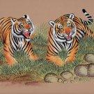 Bengal Indian Tigers Painting Handmade Wildlife Animal Nature Miniature Artwork