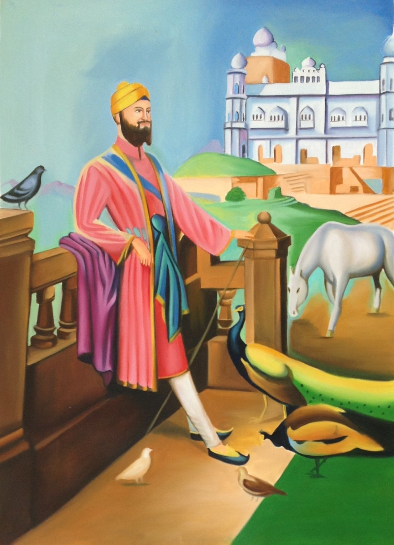 Guru Gobind Singh Sikh Punjab Art Handmade Indian Ethnic Oil Canvas Painting