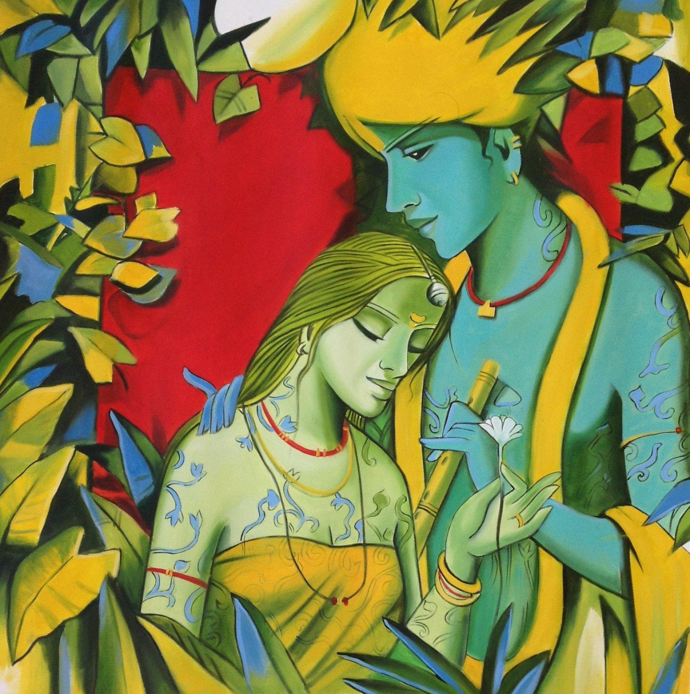 Krishna Radha Indian Painting Handmade Modern Hindu Oil on Canvas Wall Decor Art