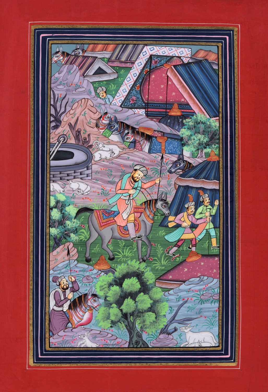 Mughal Empire Miniature Painting Rare Handmade Moghul Period Modern Indian Art