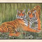 Bengal Tigers Painting Handmade Indian Miniature Wildlife Animal Watercolor Art