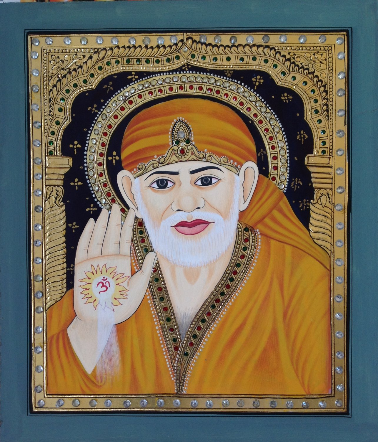 Tanjore Shirdi Sai Baba Painting Handmade Indian Thanjavur Wall Decor Gold Art