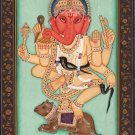 Ganesha Painting Handmade Indian Miniature Hindu Ethnic Religion Ganesh God Art
