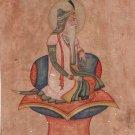 Sikh Painting Maharaja Ranjit Singh Handmade India Miniature Ethnic Portrait Art